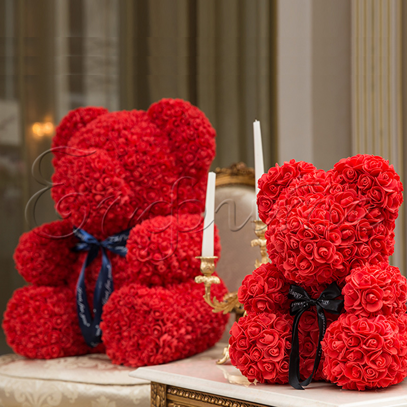 LITTLE LOVE BEAR with roses - RED
