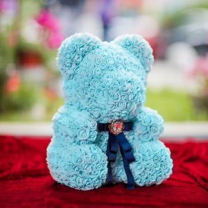 LITTLE LOVE BEAR with roses - BLUE