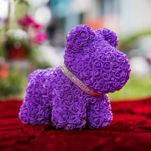 LOVE DOG with roses  PURPLE - КУЧЕ от рози