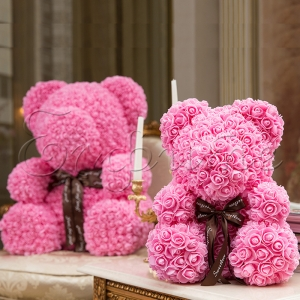 LOVE BEAR with roses PINK - МЕЧЕ от рози