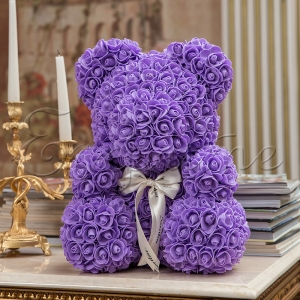 LITTLE LOVE BEAR with roses - PURPLE