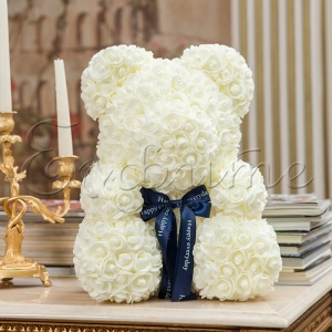 LITTLE LOVE BEAR with roses - WHITE