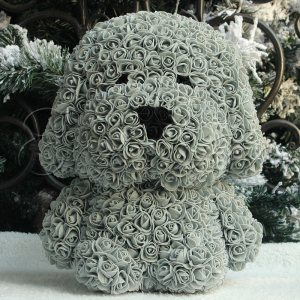 LOVE DOG with roses GREY - КУЧЕ от рози